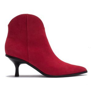 SIGERSON MORRISON Red Suede Kitten Heel Ankle Boot